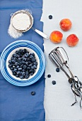 Fresh Blueberries and Peaches; Hand Mixer and Powdered Sugar