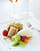 Sweet pasta rolls with vanilla ice cream and raspberries
