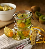 Preserved kiwis and physalis