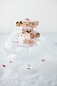 Rose Nougat Stacked in a Champagne Glass
