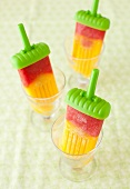 Mango Strawberry Popsicles in Glass Cups