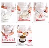 Valentine macarons being prepared