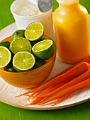 Ingredients for carrot and lime lassi