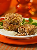 Rice and red lentil burgers