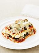 Mushroom lasagne with mozzarella