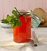 Melon jam with mint