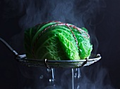 A parcel wrapped in savoy cabbage in a steamer
