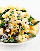 Spiral pasta with asparagus, cream sauce and orange zest