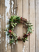 Wreath hanging on wooden door