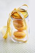 Lemon macaroons in a jar