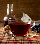 Hot tea with elderberry syrup