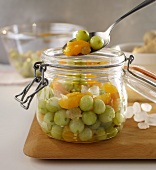 Stewed gooseberries and apricots