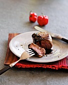 Beef steak with spicy chocolate sauce
