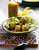Meatballs with green tomato salsa