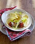 Tacos with tinga de pollo (chicken in jalapeño and tomato sauce)