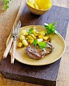 Arrachera (beef steak served with vegetables, Mexico)