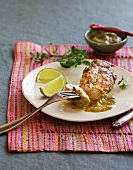 Barbecued chicken breast with Mexican salsa verde