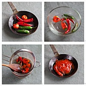 Chilli sauce being prepared