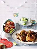 Chilli chicken with a tomato and tamarind salad