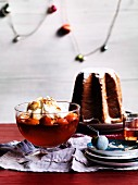A pandoro and a peach-prosecco jelly with mascarpone