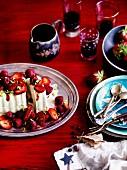 Pistachio ice cream with red berries