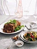 Chinese style stuffed duck with cucumber and radish pickle