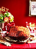 Festive roast ham