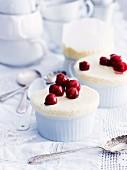 Iced vanilla souffle with brandy cherries