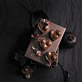 Heart-shaped chocolate-nut pralines