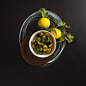 Marinated olives with rosemary and lemon