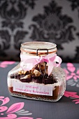 Walnut Chocolate Brownie Mix in a Jar with a Pink Ribbon