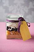 Rock Cake Mix in a Jar Tied with a Ribbon and Tag