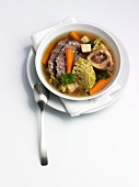Pot au feu with savoy cabbage