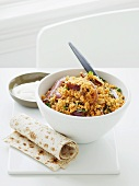 Couscous salad with dates, served with flatbread