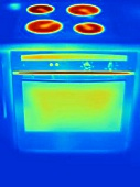 An infra-red image of a cooker with hob