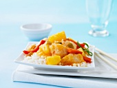 Sweet and sour chicken with rice (Asia)
