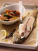 Roasted trout with ratatouille