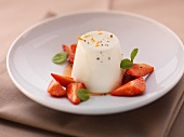 Buttermilk mousse with strawberries and mint