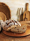 Rustic muesli and yoghurt bread, partly sliced