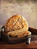 Gluten-free white bread with bread slices