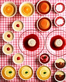 Assorted puddings and mousses (view from above)