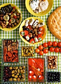 Assorted Mediterranean appetisers (view from above)
