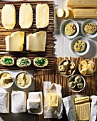 Assorted types of butter on straw mats