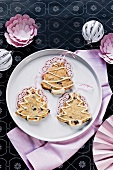Cranberry and almond biscuits in the shape of Christmas trees