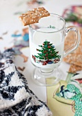 Milk in a Christmas Glass with a Cookie