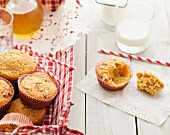 Butternut Squash, Apple and Walnut Muffins with Milk and Straws