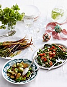 Glazed carrots, Brussels sprouts with bacon, green beans with asparagus, cherry tomatoes and slivered almonds for Christmas