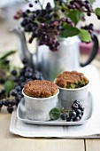 Green tea muffins with aronia jam