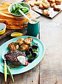 Grilled steak with creamy horseradish and balsamic beets
