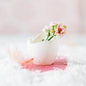 Frühlingsblumen in einer Eierschale als Osterdeko